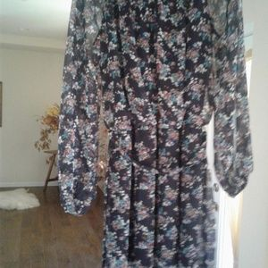 Navy flower print dress/tunic